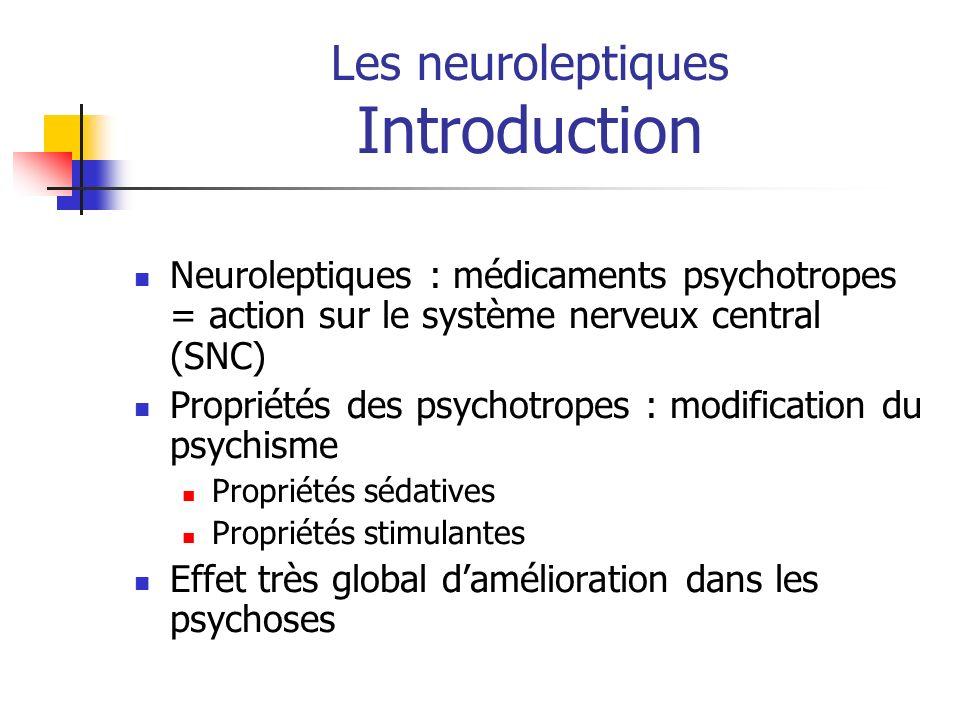 Les neuroleptiques Introduction Neuroleptiques : médicaments psychotropes = action sur le système nerveux central (SNC) Propriétés des psychotropes :