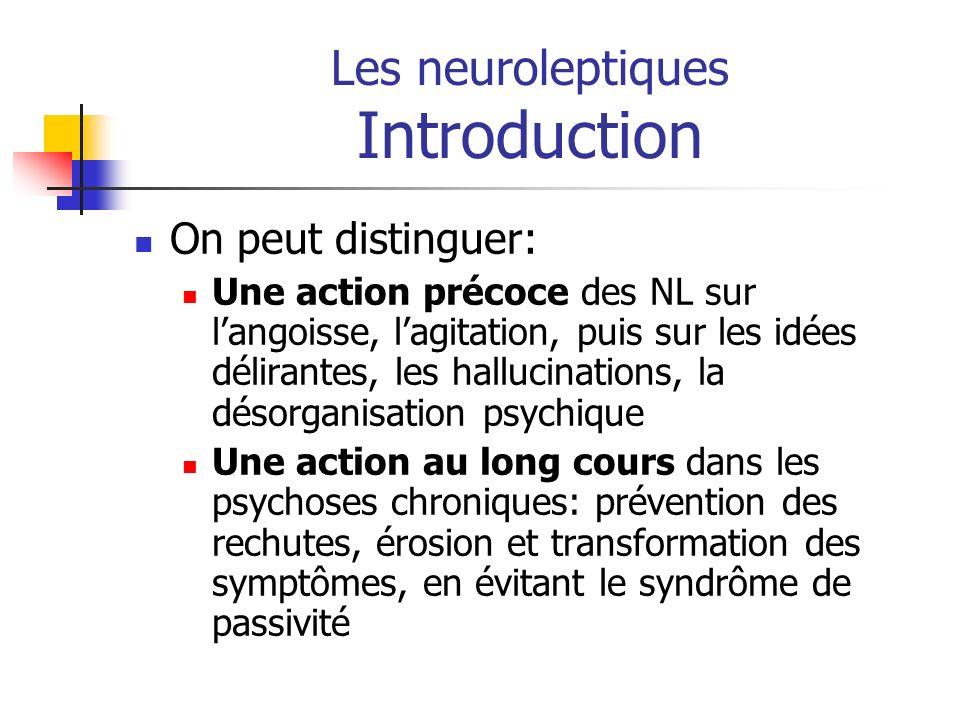 Les neuroleptiques Introduction On peut distinguer: Une action précoce des NL sur langoisse, lagitation, puis sur les idées délirantes, les hallucinat