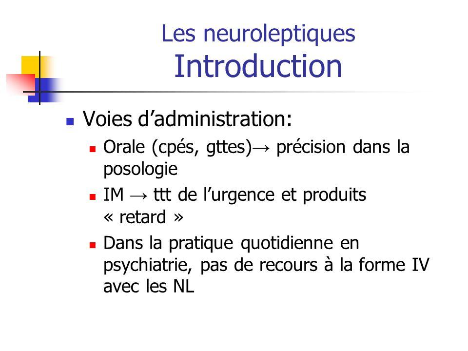 Les neuroleptiques Introduction Voies dadministration: Orale (cpés, gttes) précision dans la posologie IM ttt de lurgence et produits « retard » Dans
