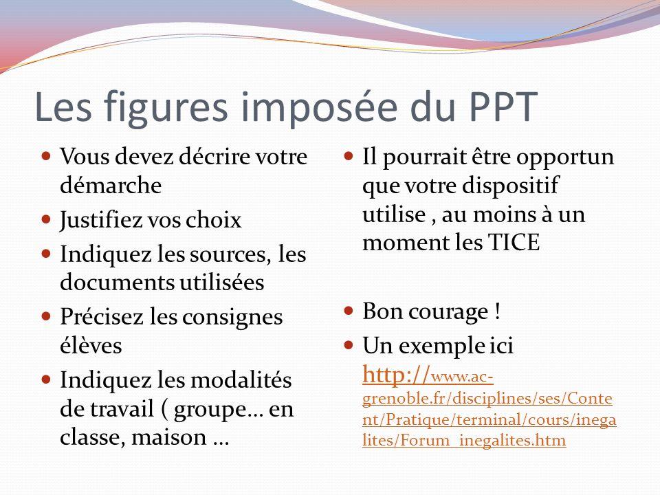 Les figures imposée du PPT Vous devez décrire votre démarche Justifiez vos choix Indiquez les sources, les documents utilisées Précisez les consignes