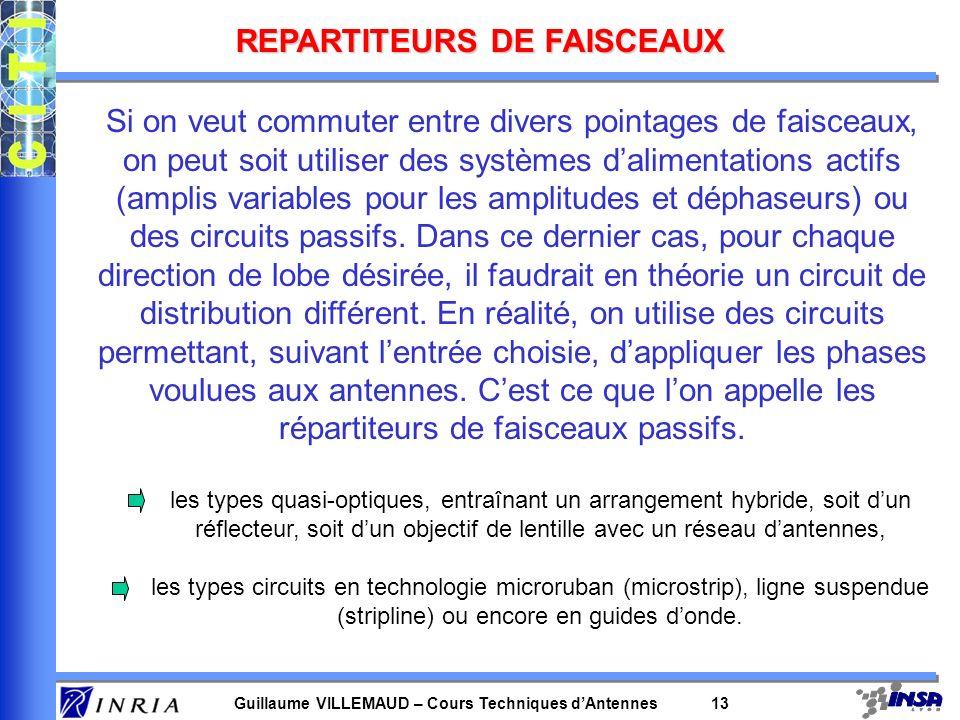 Guillaume VILLEMAUD – Cours Techniques dAntennes 13 REPARTITEURS DE FAISCEAUX Si on veut commuter entre divers pointages de faisceaux, on peut soit ut