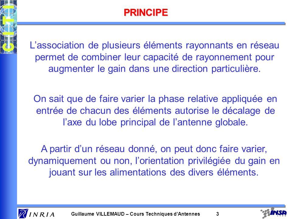 Guillaume VILLEMAUD – Cours Techniques dAntennes 3 PRINCIPE Lassociation de plusieurs éléments rayonnants en réseau permet de combiner leur capacité d