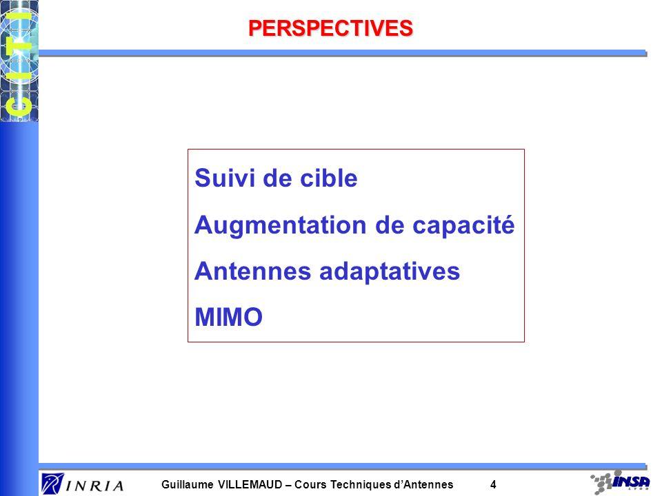 Guillaume VILLEMAUD – Cours Techniques dAntennes 4 PERSPECTIVES Suivi de cible Augmentation de capacité Antennes adaptatives MIMO