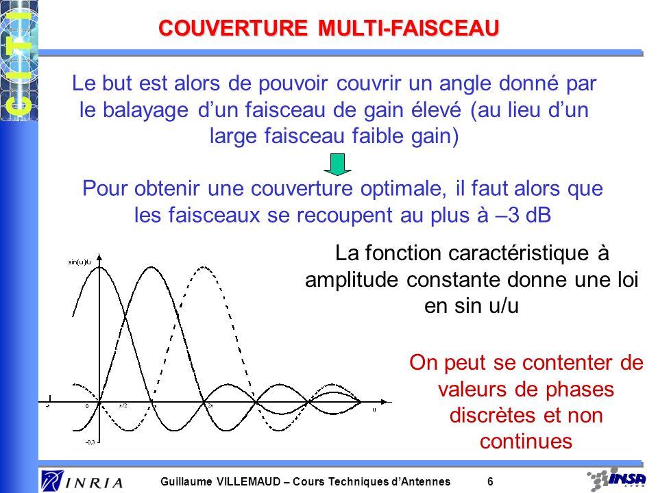 Guillaume VILLEMAUD – Cours Techniques dAntennes 6 COUVERTURE MULTI-FAISCEAU Le but est alors de pouvoir couvrir un angle donné par le balayage dun fa