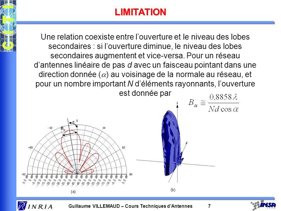 Guillaume VILLEMAUD – Cours Techniques dAntennes 7 LIMITATION Une relation coexiste entre louverture et le niveau des lobes secondaires : si louvertur