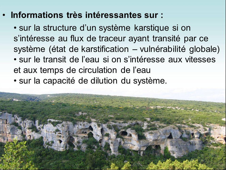 Informations très intéressantes sur : sur la structure dun système karstique si on sintéresse au flux de traceur ayant transité par ce système (état d