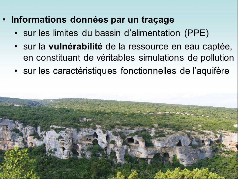 Informations données par un traçage sur les limites du bassin dalimentation (PPE) sur la vulnérabilité de la ressource en eau captée, en constituant d