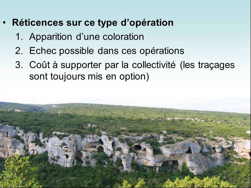 Réticences sur ce type dopération 1.Apparition dune coloration 2.Echec possible dans ces opérations 3.Coût à supporter par la collectivité (les traçag