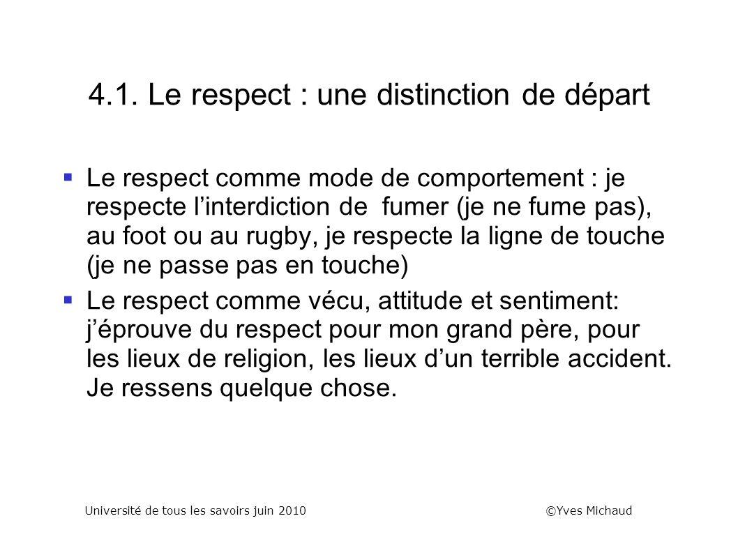 4.1. Le respect : une distinction de départ Le respect comme mode de comportement : je respecte linterdiction de fumer (je ne fume pas), au foot ou au