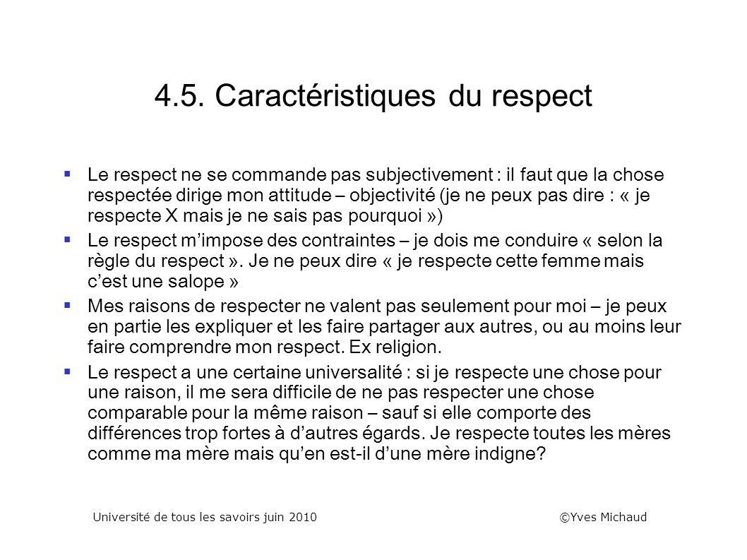 4.5. Caractéristiques du respect Le respect ne se commande pas subjectivement : il faut que la chose respectée dirige mon attitude – objectivité (je n