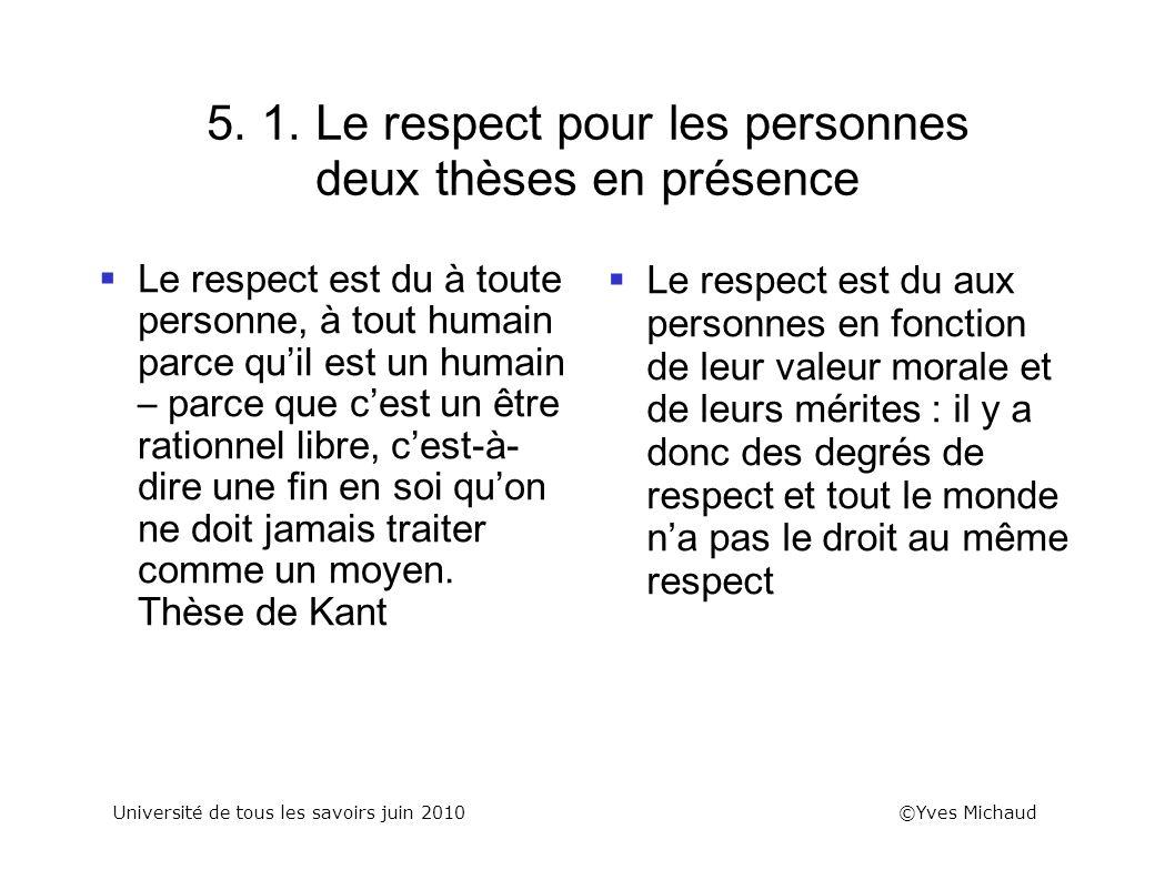 5. 1. Le respect pour les personnes deux thèses en présence Le respect est du à toute personne, à tout humain parce quil est un humain – parce que ces