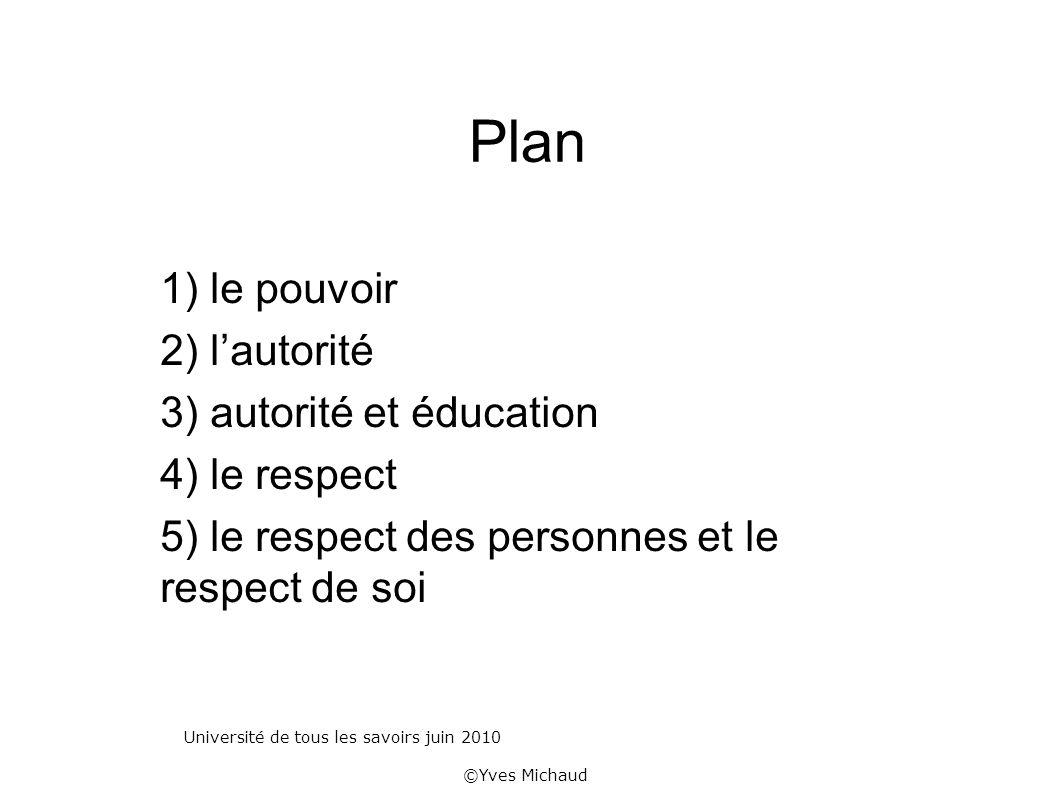 Plan 1) le pouvoir 2) lautorité 3) autorité et éducation 4) le respect 5) le respect des personnes et le respect de soi Université de tous les savoirs