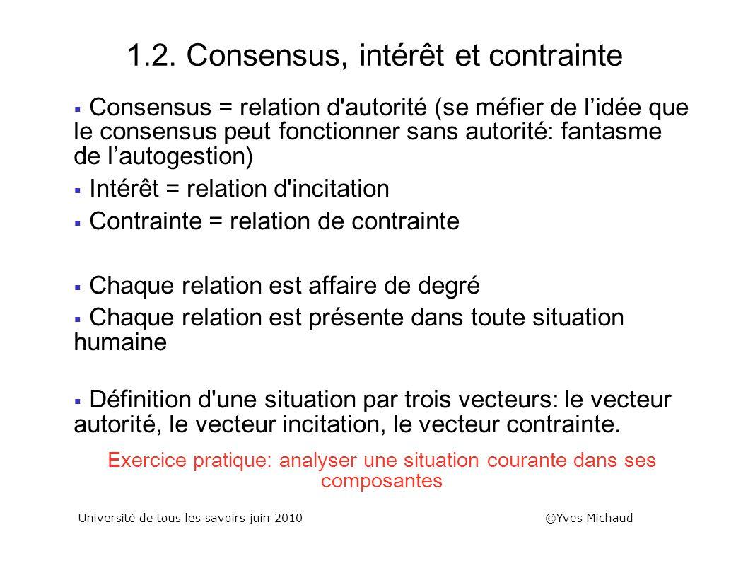 1.2. Consensus, intérêt et contrainte Consensus = relation d'autorité (se méfier de lidée que le consensus peut fonctionner sans autorité: fantasme de