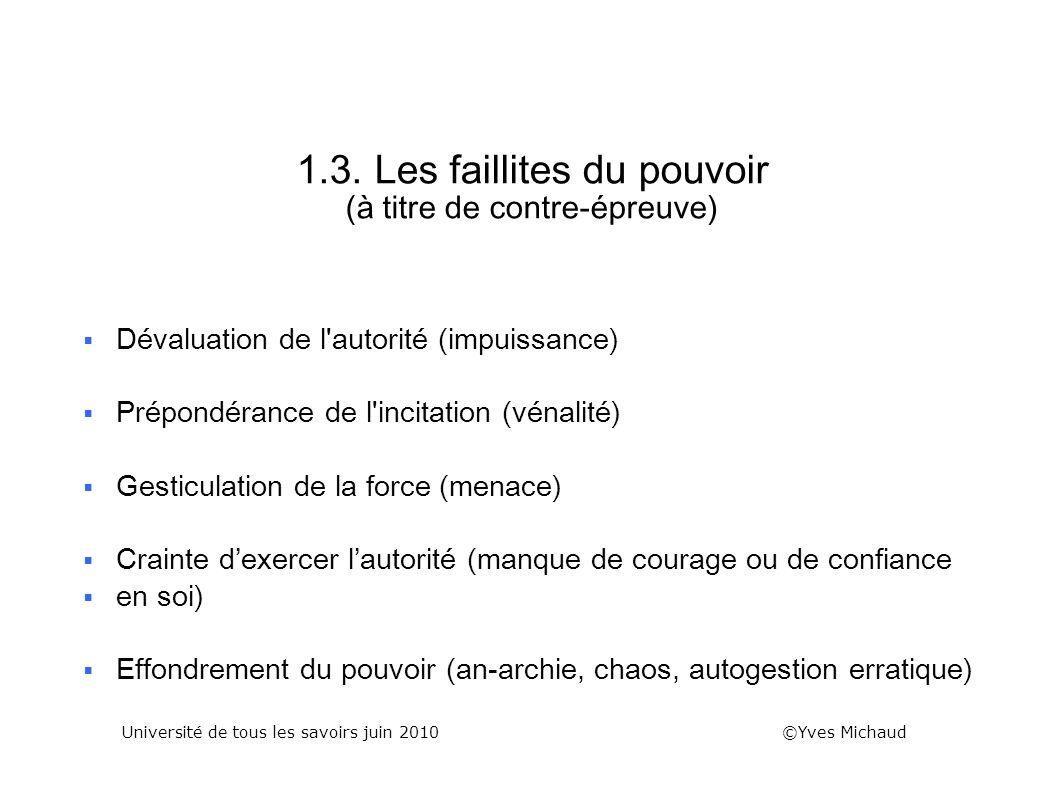 1.3. Les faillites du pouvoir (à titre de contre-épreuve) Dévaluation de l'autorité (impuissance) Prépondérance de l'incitation (vénalité) Gesticulati