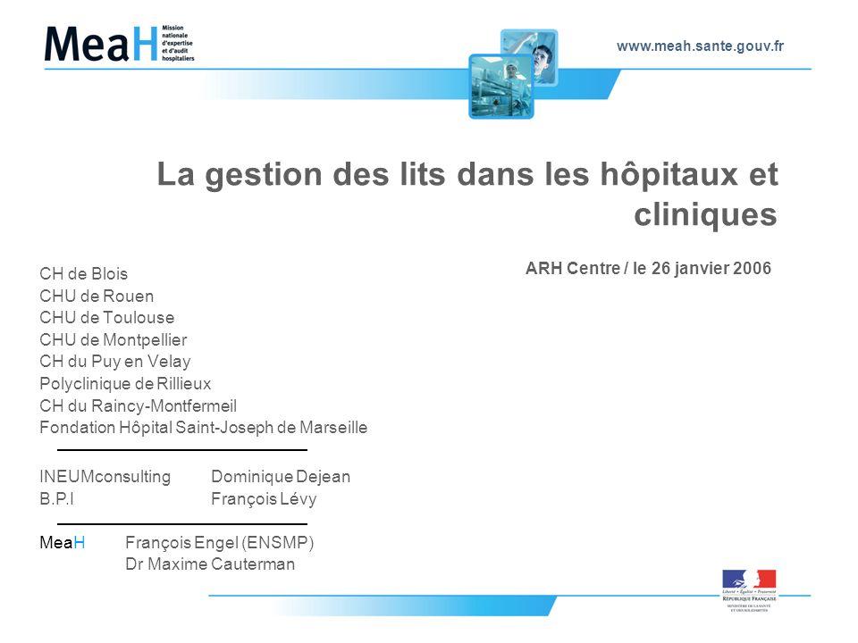 www.meah.sante.gouv.fr La gestion des lits dans les hôpitaux et cliniques CH de Blois CHU de Rouen CHU de Toulouse CHU de Montpellier CH du Puy en Vel