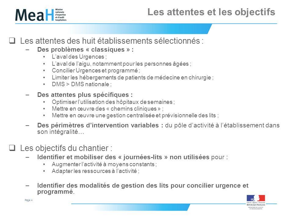 Page 4 Les attentes et les objectifs Les attentes des huit établissements sélectionnés : –Des problèmes « classiques » : Laval des Urgences ; Laval de