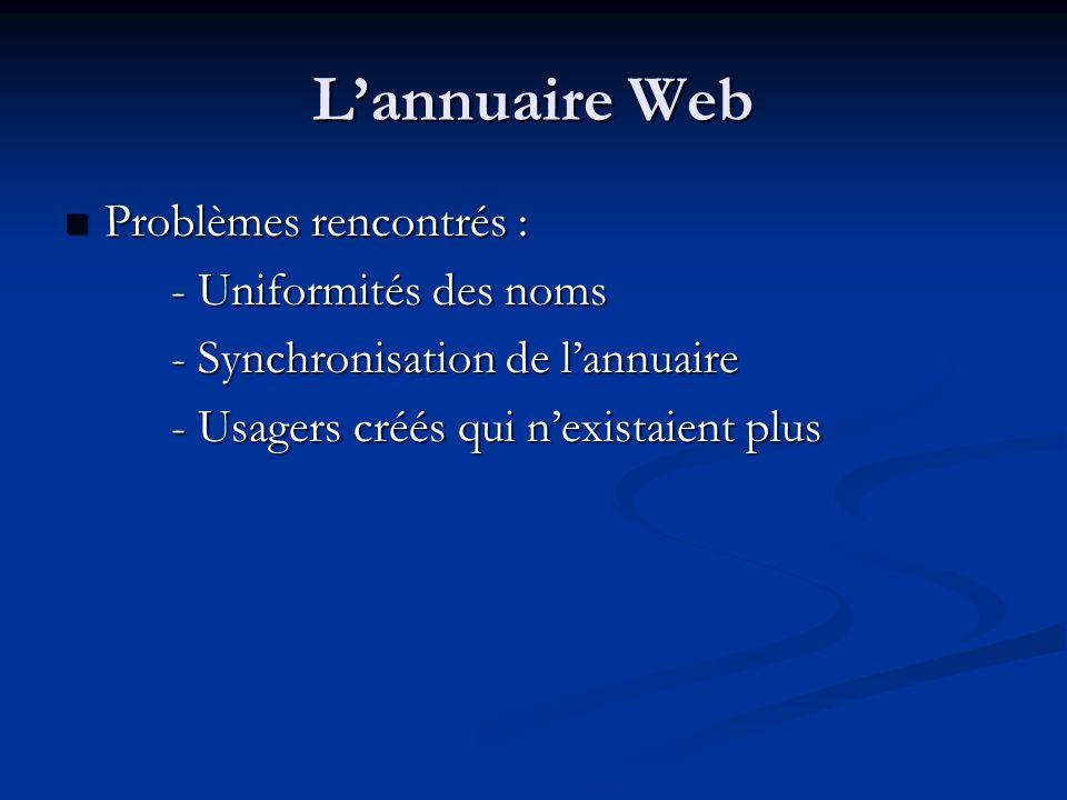 Lannuaire Web Problèmes rencontrés : Problèmes rencontrés : - Uniformités des noms - Synchronisation de lannuaire - Usagers créés qui nexistaient plus