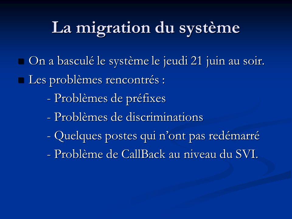 La migration du système On a basculé le système le jeudi 21 juin au soir. On a basculé le système le jeudi 21 juin au soir. Les problèmes rencontrés :