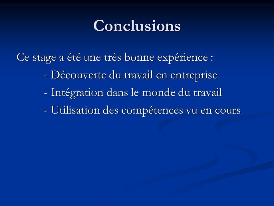 Conclusions Ce stage a été une très bonne expérience : - Découverte du travail en entreprise - Intégration dans le monde du travail - Utilisation des