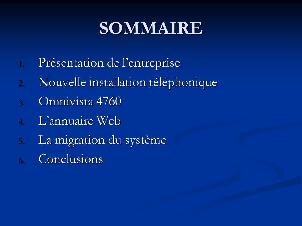 SOMMAIRE 1. Présentation de lentreprise 2. Nouvelle installation téléphonique 3. Omnivista 4760 4. Lannuaire Web 5. La migration du système 6. Conclus