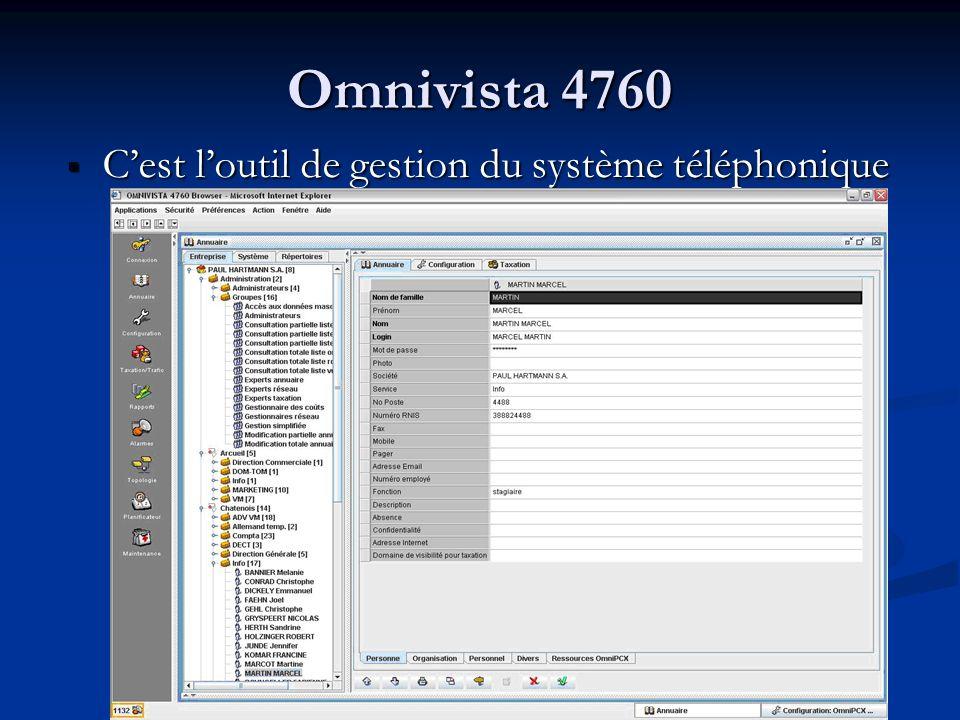 Omnivista 4760 Jai effectué différente tache grâce a cet outil Jai effectué différente tache grâce a cet outil - Gestion des usagers - épuration de la configuration - Gestion du traducteur - Création de lannuaire Web