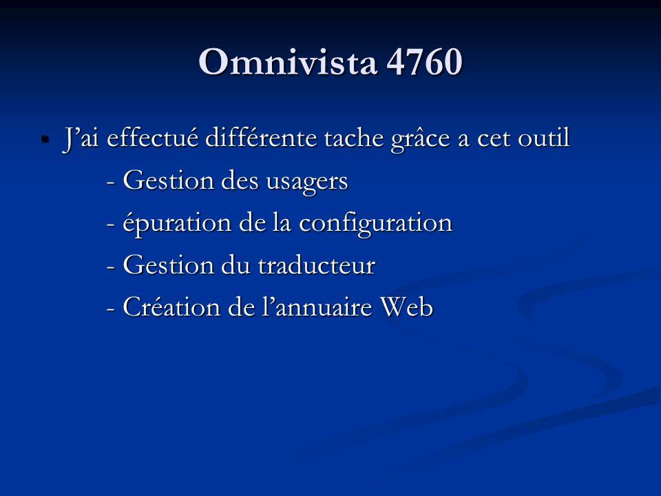 Omnivista 4760 Jai effectué différente tache grâce a cet outil Jai effectué différente tache grâce a cet outil - Gestion des usagers - épuration de la
