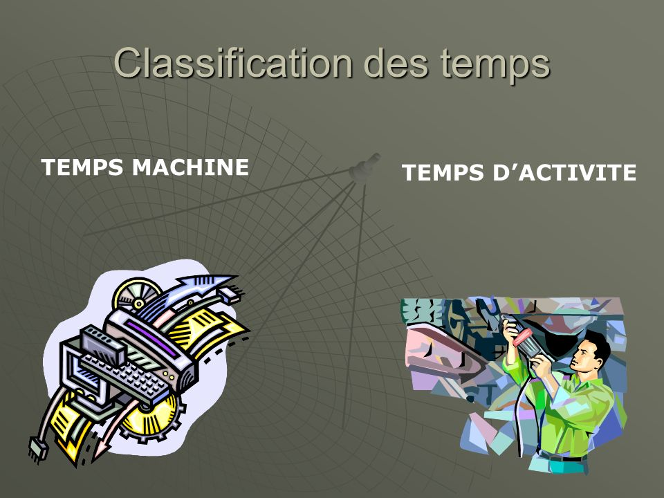 Classification des temps TEMPS MACHINE TEMPS DACTIVITE