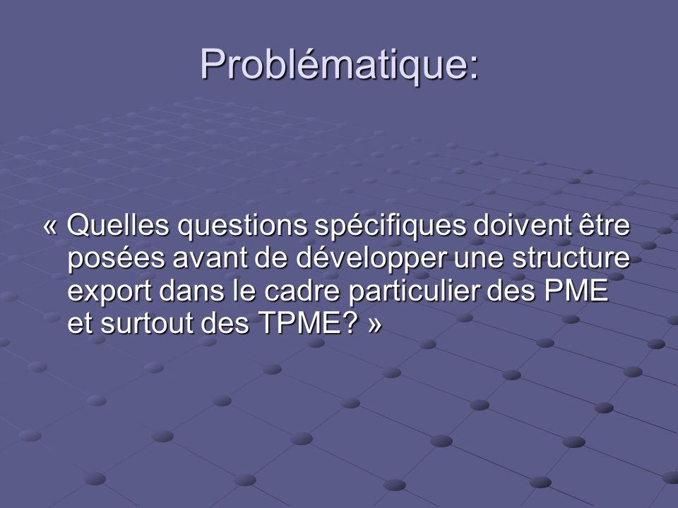 Problématique: « Quelles questions spécifiques doivent être posées avant de développer une structure export dans le cadre particulier des PME et surto