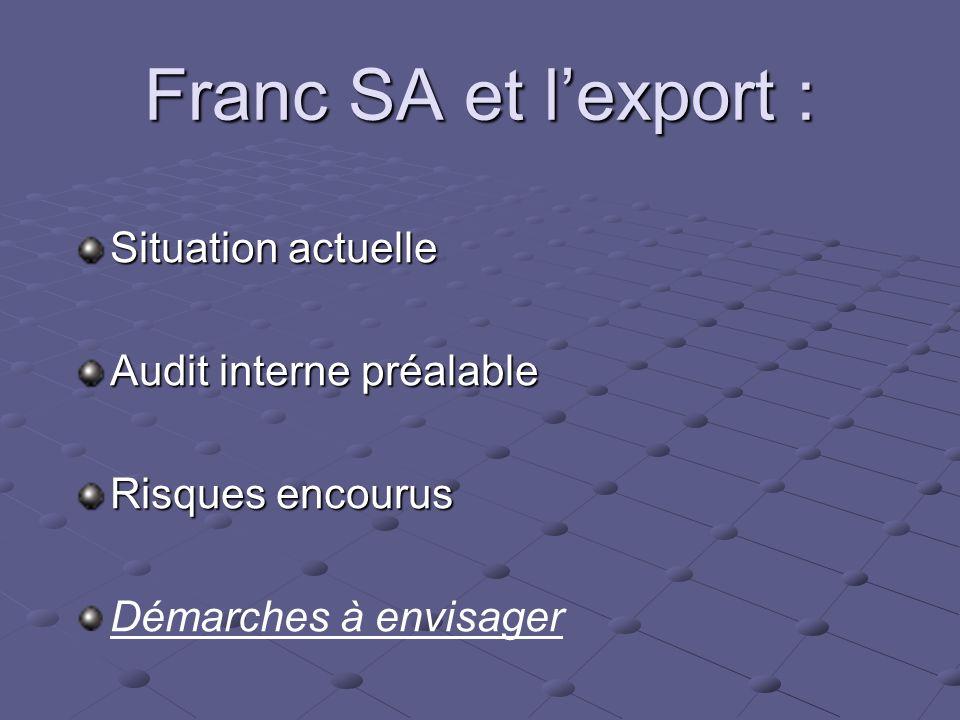 Franc SA et lexport : Situation actuelle Audit interne préalable Risques encourus Démarches à envisager