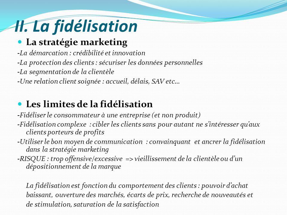 II. La fidélisation La stratégie marketing -La démarcation : crédibilité et innovation -La protection des clients : sécuriser les données personnelles