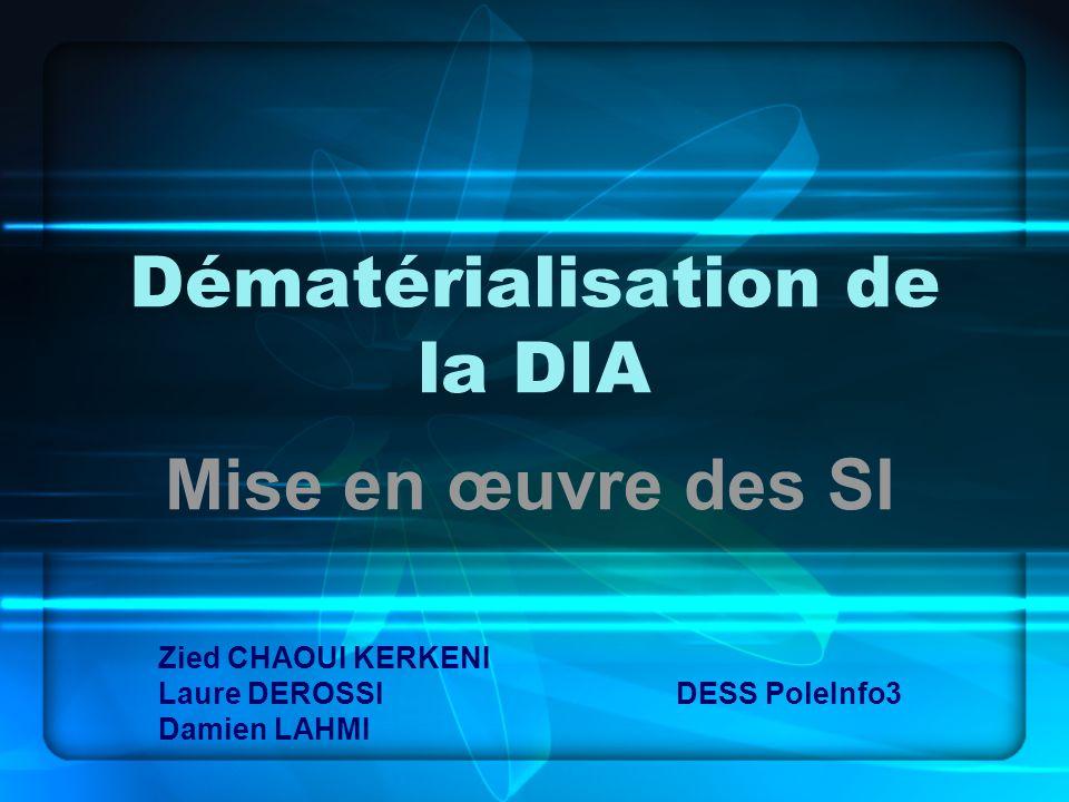 Dématérialisation de la DIA Mise en œuvre des SI Zied CHAOUI KERKENI Laure DEROSSI DESS PoleInfo3 Damien LAHMI