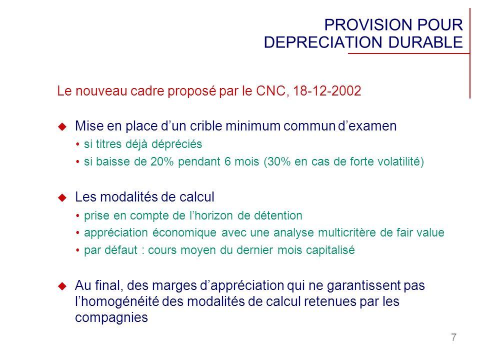 7 Le nouveau cadre proposé par le CNC, 18-12-2002 Mise en place dun crible minimum commun dexamen si titres déjà dépréciés si baisse de 20% pendant 6