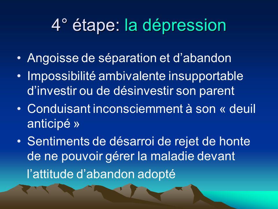 4° étape: la dépression Angoisse de séparation et dabandon Impossibilité ambivalente insupportable dinvestir ou de désinvestir son parent Conduisant i