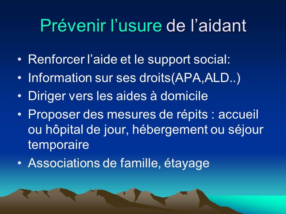 Prévenir lusure de laidant Renforcer laide et le support social: Information sur ses droits(APA,ALD..) Diriger vers les aides à domicile Proposer des