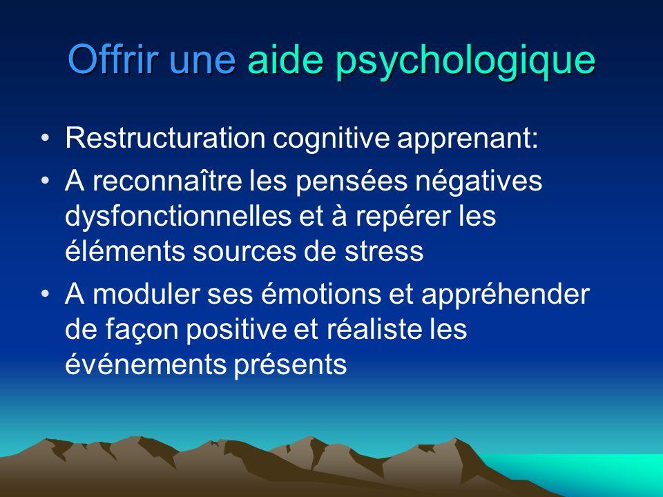 Offrir une aide psychologique Restructuration cognitive apprenant: A reconnaître les pensées négatives dysfonctionnelles et à repérer les éléments sou