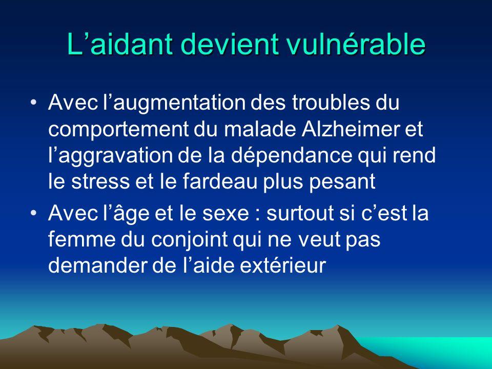 Laidant devient vulnérable Avec laugmentation des troubles du comportement du malade Alzheimer et laggravation de la dépendance qui rend le stress et