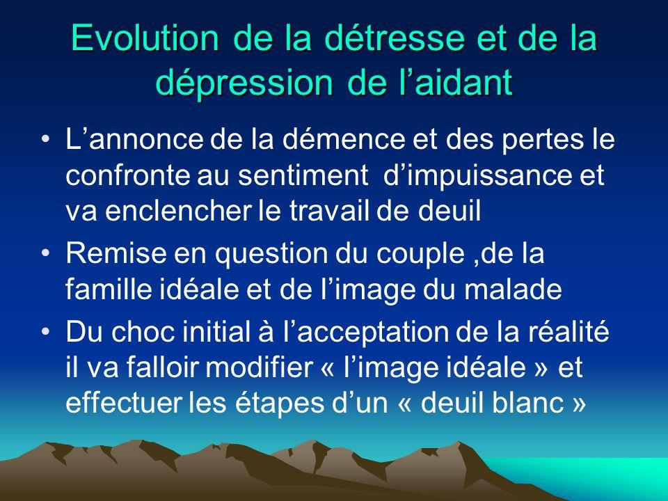 Evolution de la détresse et de la dépression de laidant Lannonce de la démence et des pertes le confronte au sentiment dimpuissance et va enclencher l