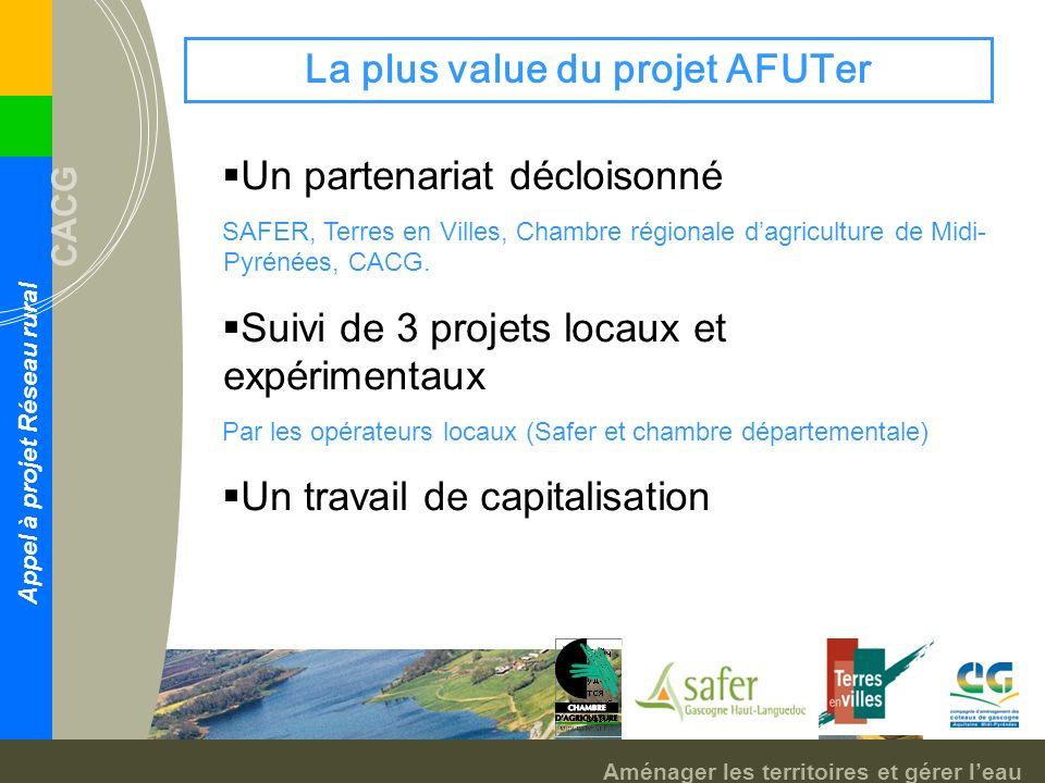 Aménager les territoires et gérer leau CACG Appel à projet Réseau rural La plus value du projet AFUTer Un partenariat décloisonné SAFER, Terres en Villes, Chambre régionale dagriculture de Midi- Pyrénées, CACG.