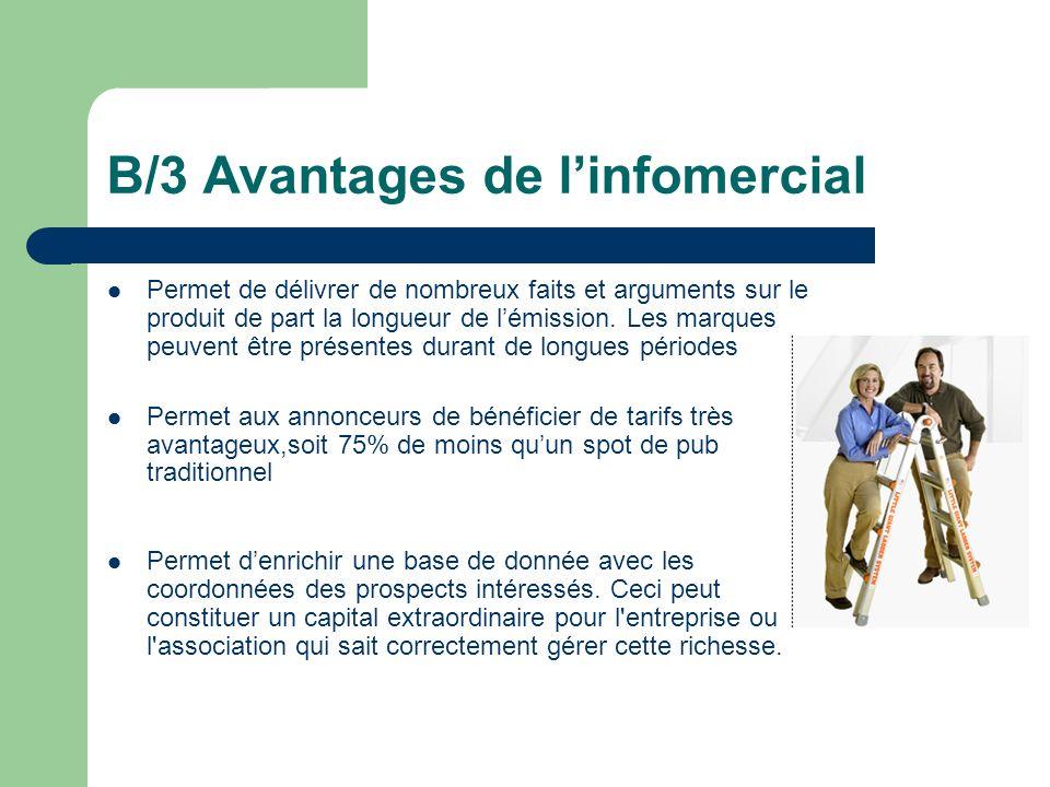 B/3 Avantages de linfomercial Permet de délivrer de nombreux faits et arguments sur le produit de part la longueur de lémission. Les marques peuvent ê