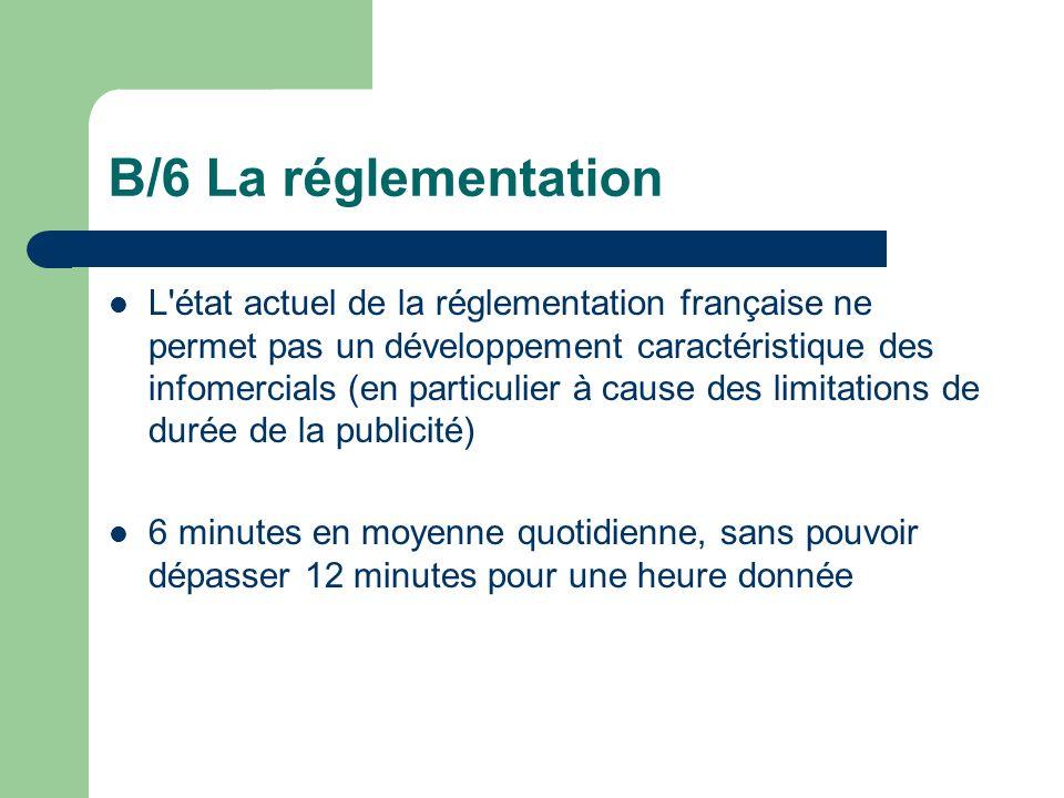 B/6 La réglementation L'état actuel de la réglementation française ne permet pas un développement caractéristique des infomercials (en particulier à c