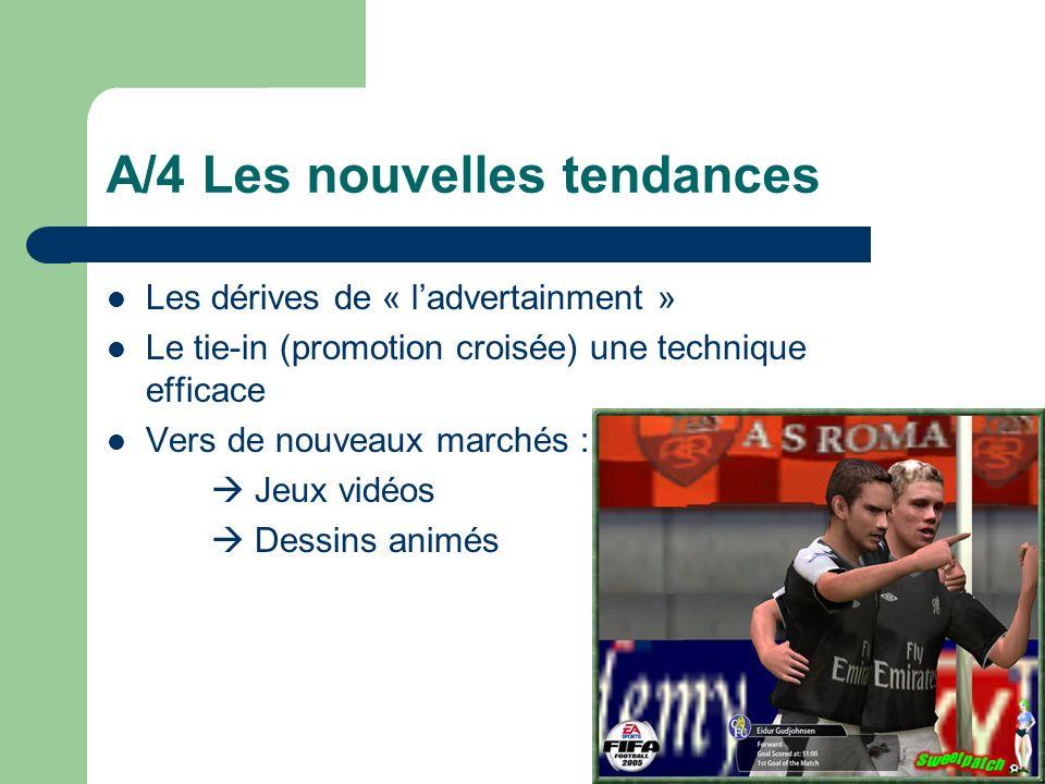 A/4 Les nouvelles tendances Les dérives de « ladvertainment » Le tie-in (promotion croisée) une technique efficace Vers de nouveaux marchés : Jeux vid