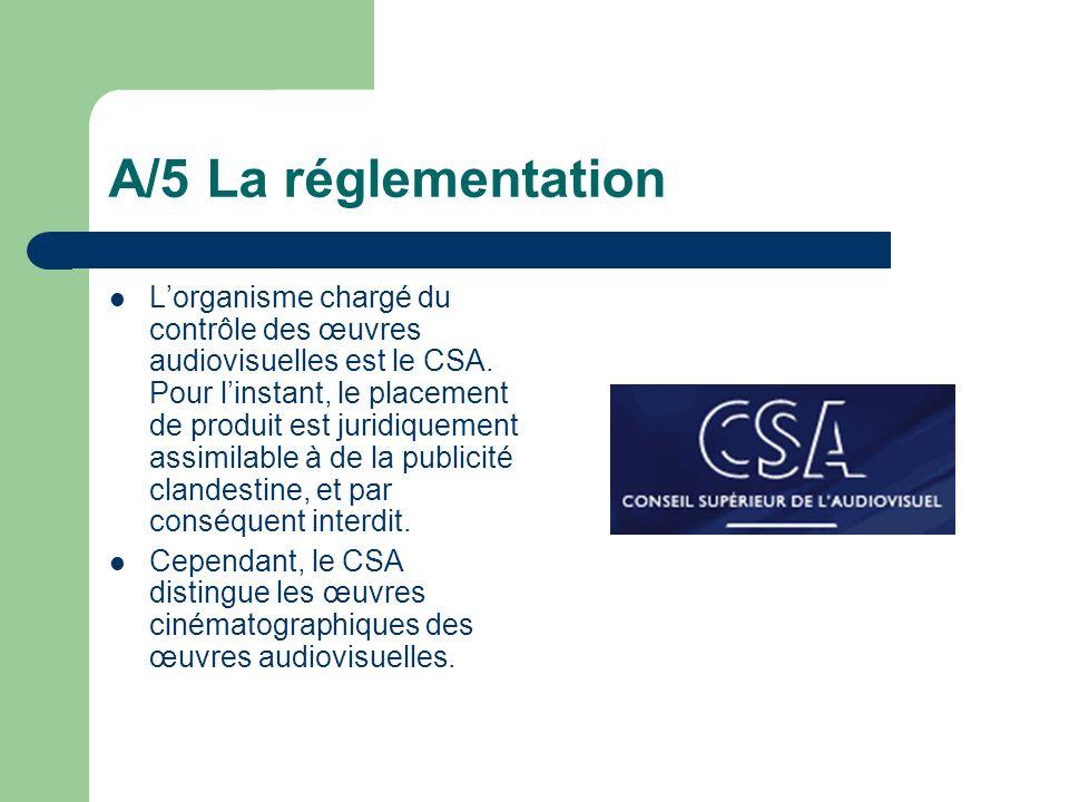 A/5 La réglementation Lorganisme chargé du contrôle des œuvres audiovisuelles est le CSA. Pour linstant, le placement de produit est juridiquement ass