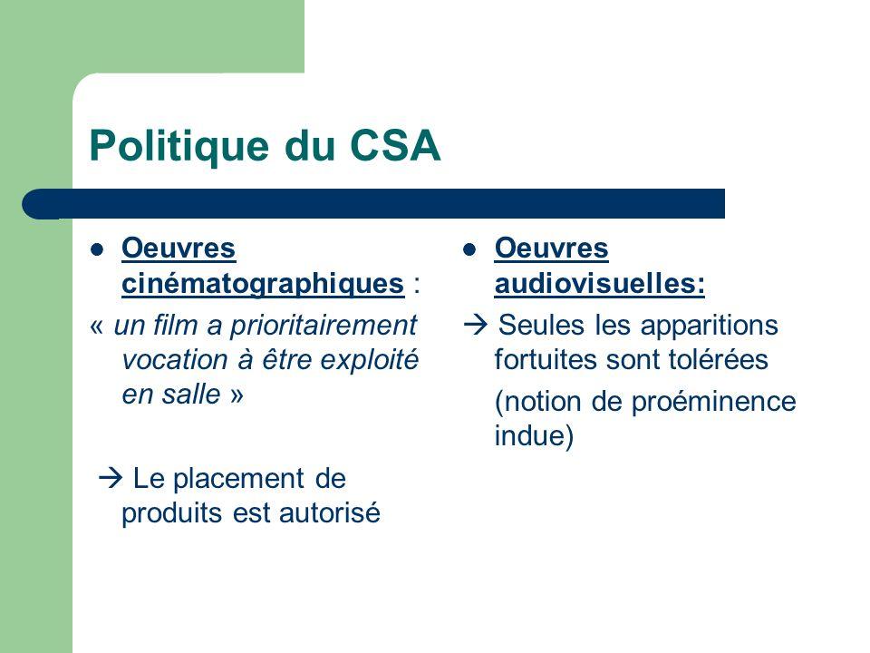 Politique du CSA Oeuvres cinématographiques : « un film a prioritairement vocation à être exploité en salle » Le placement de produits est autorisé Oe