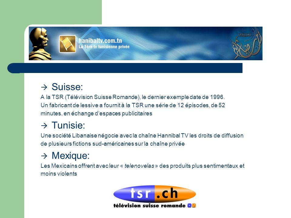Suisse: A la TSR (Télévision Suisse Romande), le dernier exemple date de 1996. Un fabricant de lessive a fournit à la TSR une série de 12 épisodes, de