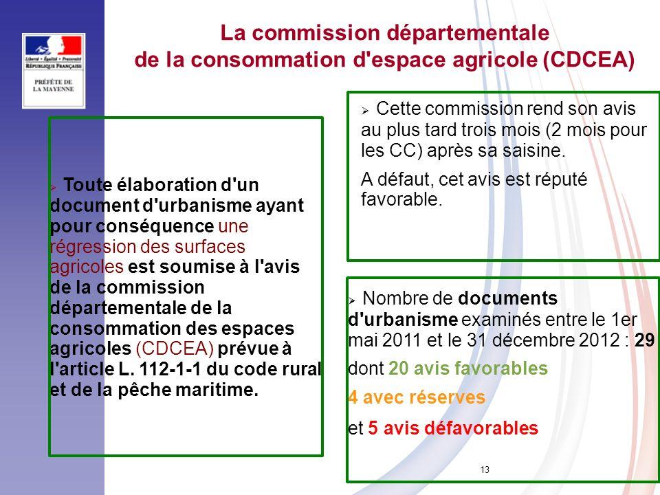 13 La commission départementale de la consommation d'espace agricole (CDCEA) Toute élaboration d'un document d'urbanisme ayant pour conséquence une ré