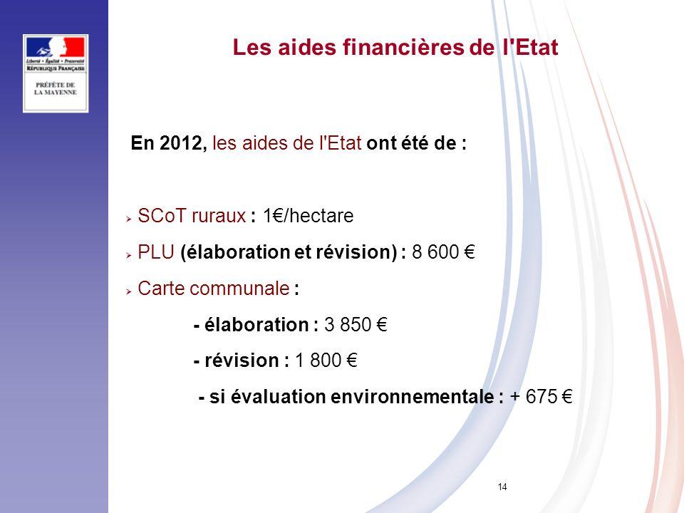 14 Les aides financières de l'Etat En 2012, les aides de l'Etat ont été de : SCoT ruraux : 1/hectare PLU (élaboration et révision) : 8 600 Carte commu