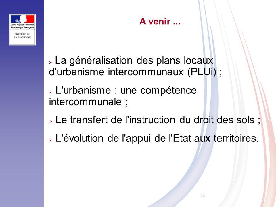 15 A venir... La généralisation des plans locaux d'urbanisme intercommunaux (PLUi) ; L'urbanisme : une compétence intercommunale ; Le transfert de l'i