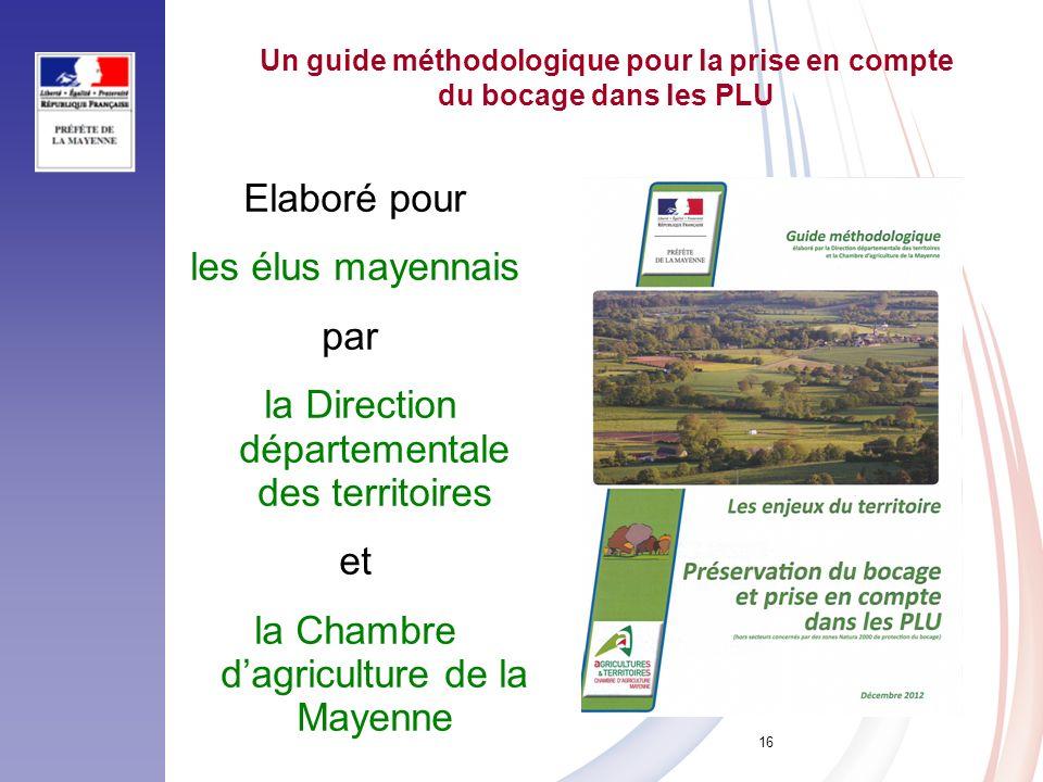 16 Un guide méthodologique pour la prise en compte du bocage dans les PLU Elaboré pour les élus mayennais par la Direction départementale des territoi