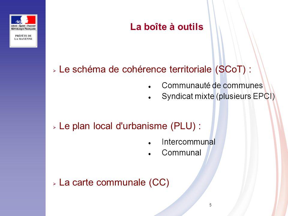 5 Le schéma de cohérence territoriale (SCoT) : Communauté de communes Syndicat mixte (plusieurs EPCI) Le plan local d'urbanisme (PLU) : Intercommunal