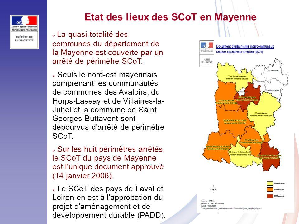 7 La quasi-totalité des communes du département de la Mayenne est couverte par un arrêté de périmètre SCoT. Seuls le nord-est mayennais comprenant les